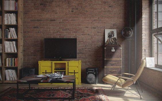 table basse industrielle, tapis à motifs multicolores, fauteuil en cuir beige et meuble télé jaune