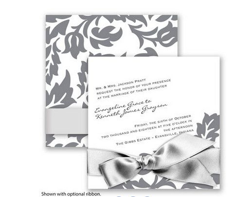 Modern Damask Wedding Invitation in Mercury by David's Bridal. #davidsbridal #weddinginvitations #graywedding