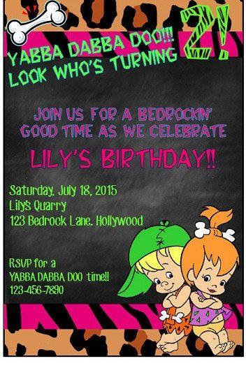 Flintstones Pebbles Birthday Invite by grinandgiggles on Etsy