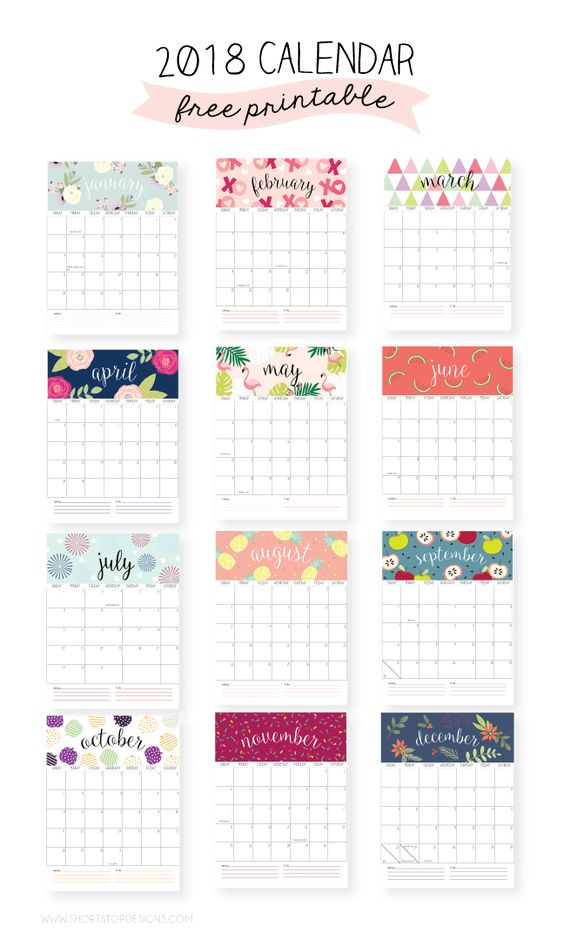 graphic regarding Pretty Calendars named 2018 totally free printable calendars - Lolly Jane