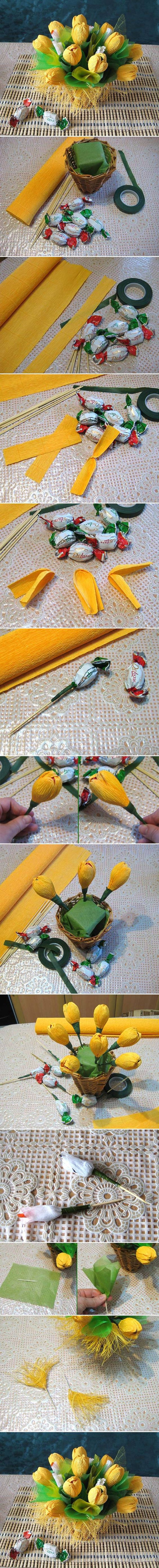 DIY Yellow Flower Candy Bouquet DIY Projects
