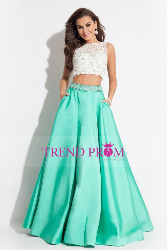 2016 Prom Dresses A-Line Scoop Floor-Length Satin