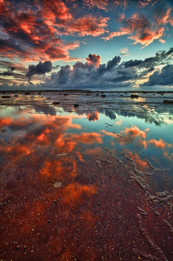 Wonderful clouds and reflection on water.