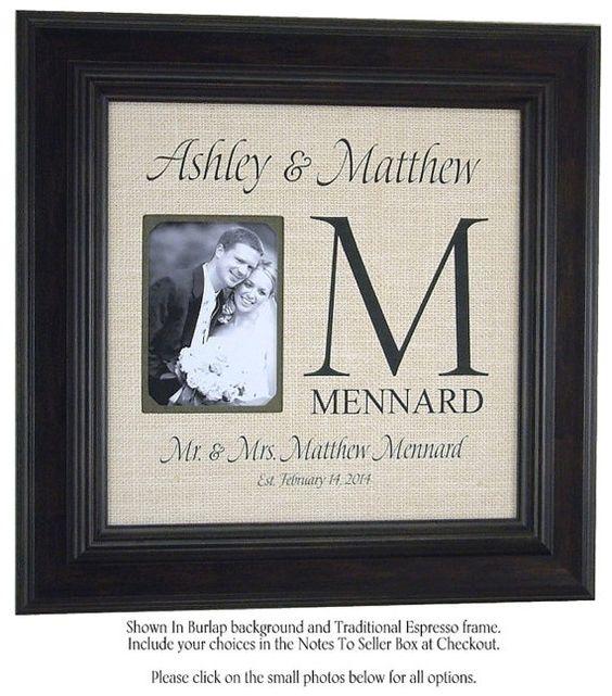 Love Story Burlap Wedding Photo Frame by PhotoFrameOriginals