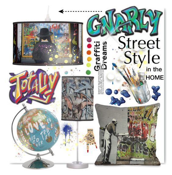 """""""""""real street style"""" graffity decore"""" by drenise ❤ liked on Polyvore featuring interior, interiors, interior design, maison, home decor, interior decorating, Maria Francesca Pepe, Guide London, trending et graffiti"""