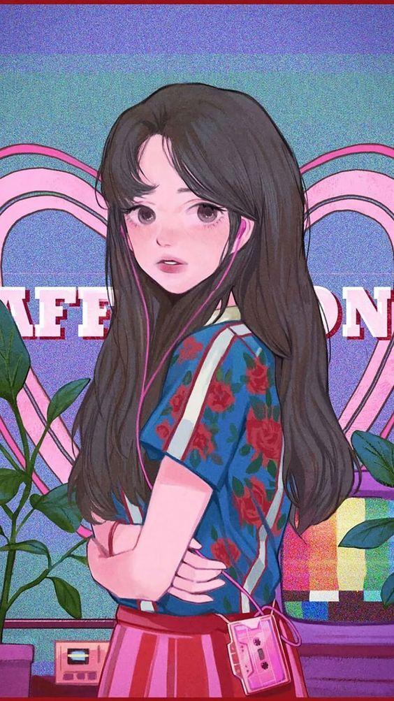 Pretty #girl # Wallpaper, # girl #pretty #wallpaper # cartoon # anime #wallart #animeart
