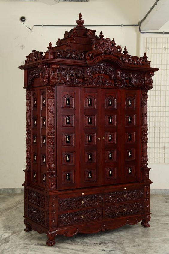 Indian Spiritual Teak Wood Pooja Mandir For Home In USA