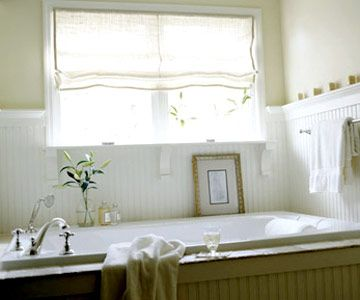 15 bathroom window treatment ideas roman shades for Bathroom rehab ideas