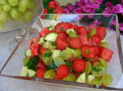 Watermelon, cucumber and grape salad..  Hmmm...  Interesting!