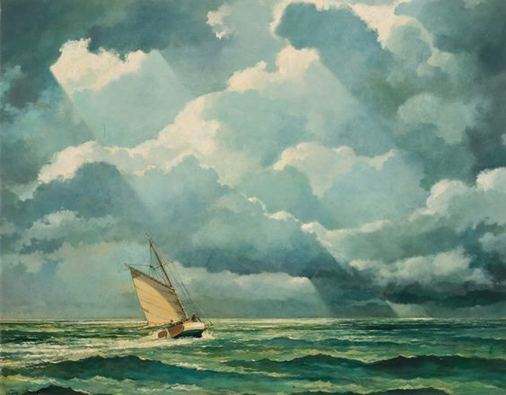 Eric Sloane (American, 1905-1985), Sailing Under Stormy Sky. Oil on masonite, 28 x 36 in.