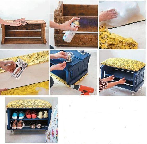 #riciclo #recycling | trasformare una cassetta della frutta in porta-scarpe | turn a box of fruit door-shoes