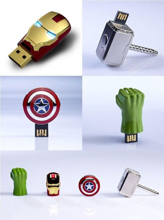 The Avengers flash drives. I need them all!!