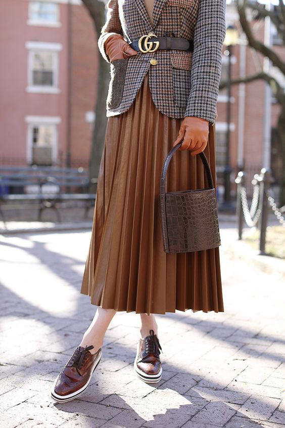 A belted tweed blazer, pleated skirt, and platform oxford shoes // Fall fashion style details on Atlantic-Pacific