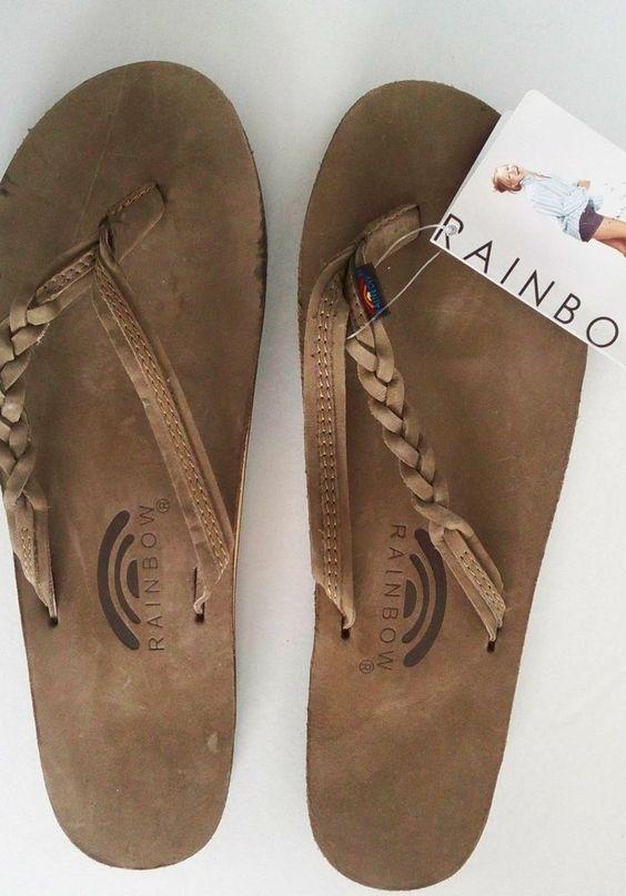 Rainbow Sandal Flirty Braidy 301ALTSB Leather Expresso Size 8.5 - 9.5 FreeShipUS #Rainbow #FlipFlops