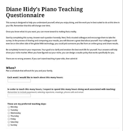 Studio Policy Questionnaire -- get your thoughts together before - piano teacher resume