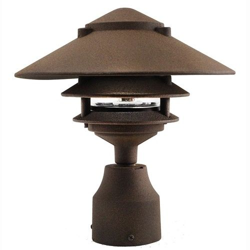 12v 120v Led Large Top Cast Aluminum 3 Tier Pagoda Post Light Led Ppc351 Post Lights Post Mount Lighting Led Outdoor Lighting