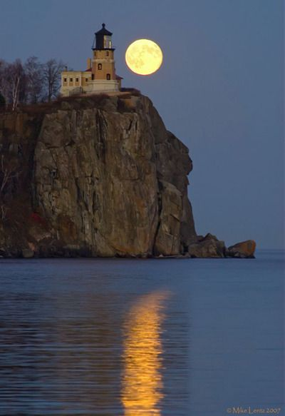 Split Rock Lighthouse, MN, beautiful Moon.