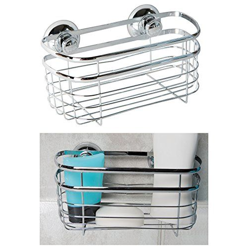 1 Shelf Chrome Plated Merson Twist Suction Cup Shower Caddy For Bathroom Storage Chrome Plating Bathroom Storage Shower Caddy