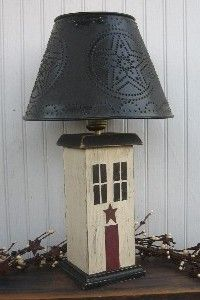 primitive lamps country lamps punched tin lamp shades. Black Bedroom Furniture Sets. Home Design Ideas