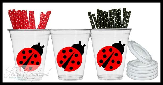 Ladybug Theme Birthday Party Favors - Party Drink Cups - 9 Guest Set
