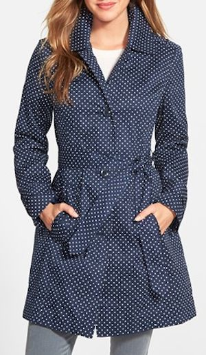 blue dotted rain coat