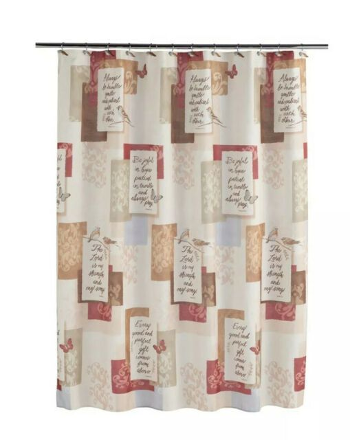 Saturday Knight Grace Inspirational Shower Curtain Reds Brown For Sale Online Ebay In 2020 Bird Shower Curtain Saturday Knight Shower Curtain