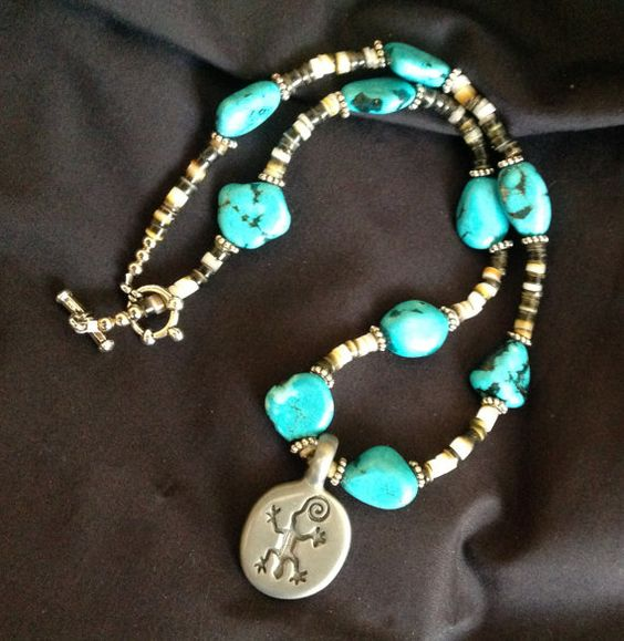 19 Heishi Necklace with 10 Turquoise Nuggets & Pewter Gecko Pendant.