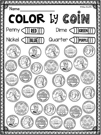 Coin recognition worksheets 1st grade