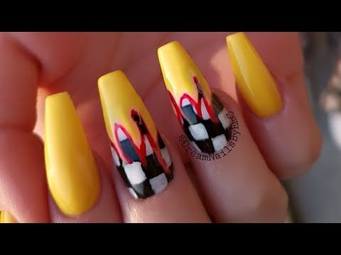 Acrylic Infill Gel Polish Nail Art Chequered Flag And Flames Design Youtube Checkered Nails Gel Polish Nail Art Yellow Nail Art