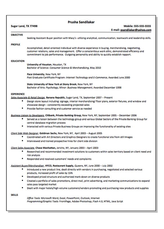 Client Side Web Design Resume Sample - http\/\/resumesdesign - assistant buyer resume
