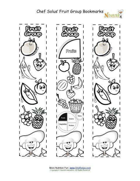 Nutrition Coloring Pages For Kindergarten : Myplate worksheet bookmarks coloring fruit food group