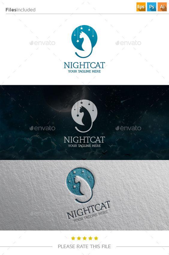 Night Cat Logo Template PSD, Vector EPS, AI #logotype Download: http://graphicriver.net/item/night-cat-logo/11250287?ref=ksioks