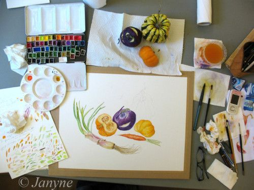 Le stage d'aquarelle botanique de quatre jours , habituel de la Toussaint, autour de la Pomologie et aussi des Légumes , s'est déroulé la semaine passée. C'était un vrai plaisir de voir la motivation et l'enthousiasme de mes stagiaires et il faut dire...