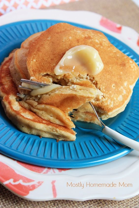 Mostly Homemade Mom - Peanut Butter Pancakes with Honey Butter www.mostlyhomemademom.com