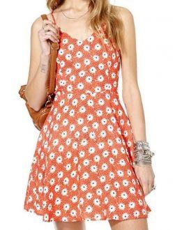 Coral Red Daisy Printed V Neck Crossed Sparhetti Straps Back Short Dress