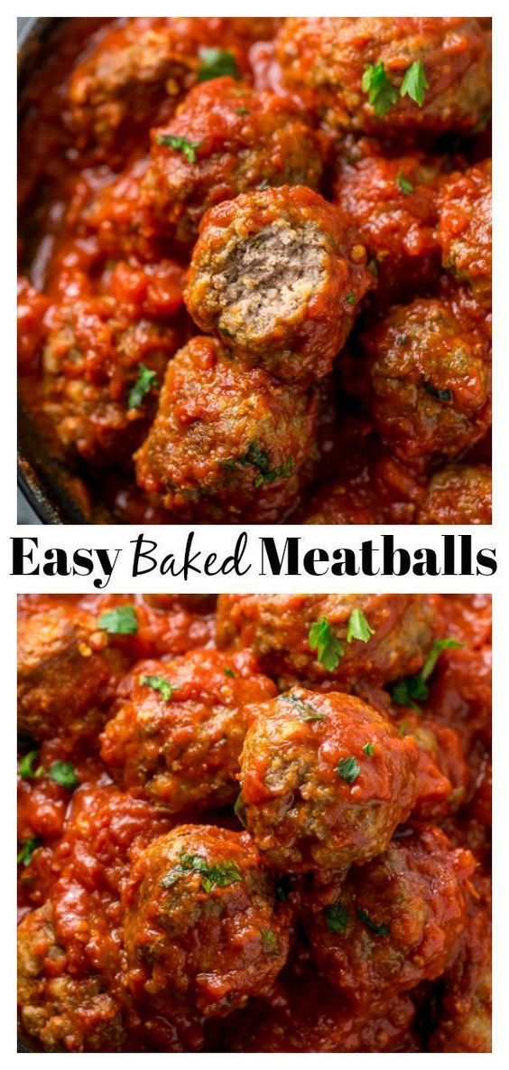 Easy Baked Meatballs with Marinara Sauce - Baker by Nature