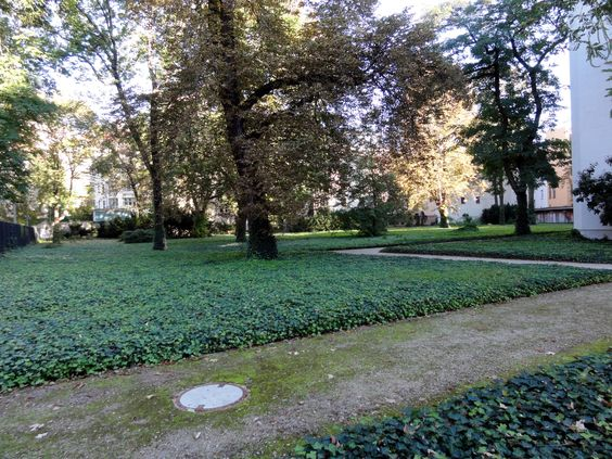 Ist das noch kontmplativ, oder schon minimalistisch? Beides schließt sich offensichtlich nicht aus, wie dieser ehemalige Friedhof am Hackeschen Markt in Berlin zeigt. Efeu, so weit das Auge reicht, schafft hier eine pietätvolle Stimmung!: