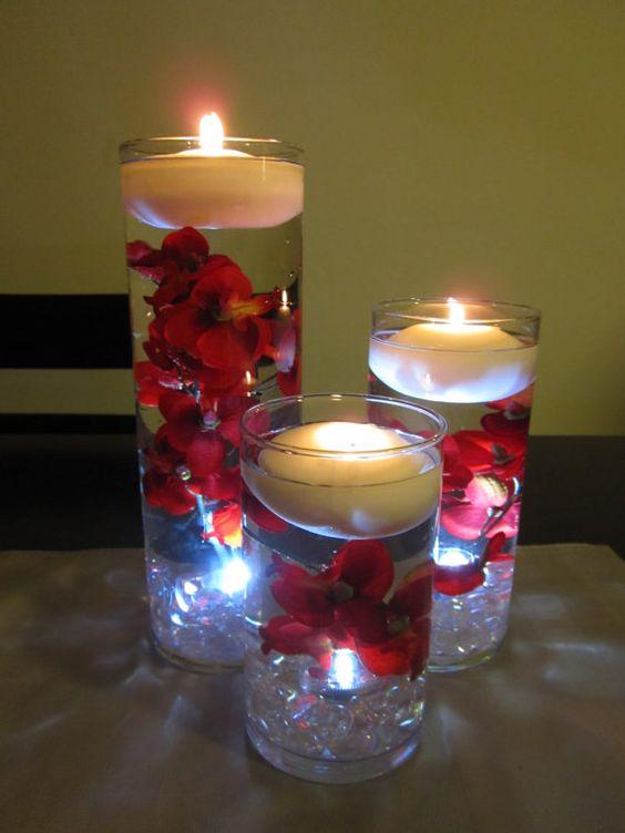 Floating Candle Centerpiece. love! replace with purple flowers and itll match my theme