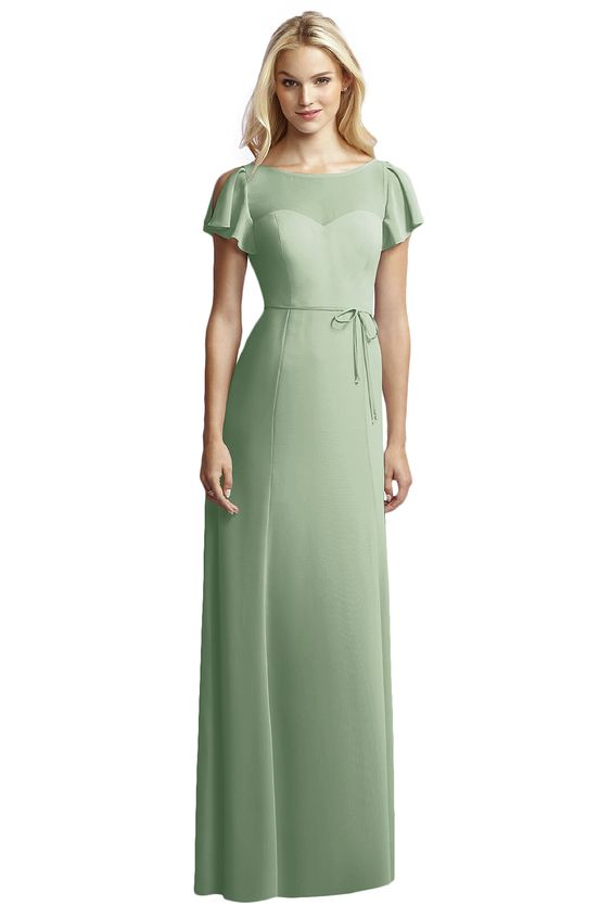 Jenny Yoo For Dessy Jy518 Bridesmaid Dress in Sage Green in Chiffon