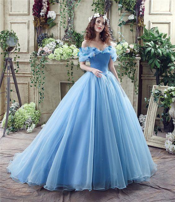 prom Cinderella Princess Dress Sandy Blue Gorgeous Formal ...