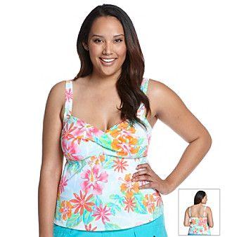 "Cazimi Plus Size ""Palm Spring Floral"" Twist Bra Tankini Top at www.bonton.com"