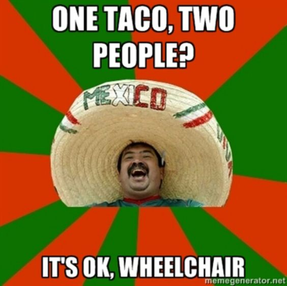 One Taco, Two People? Its Ok, Wheelchair. Mexico Mexican