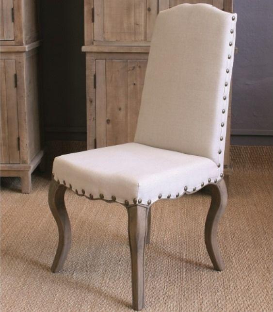 Silla aline de estilo vintage tapizada con lino de color - Clavos para madera ...