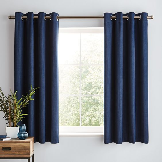 European Flax Linen Curtain Midnight, Solar Navy Blackout Eyelet Curtains