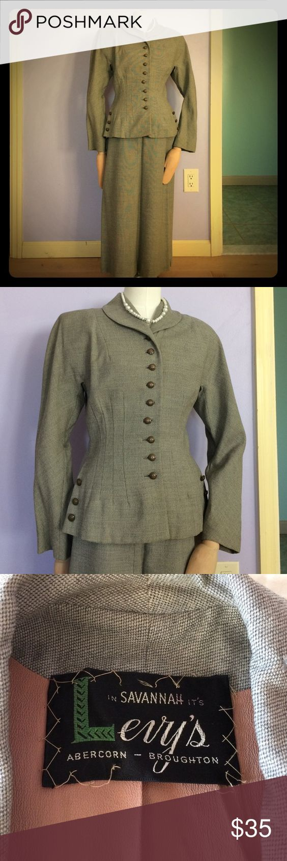 Vintage women's suit This is a beautifully made vintage (circa 1940s) wool blend suit. Color is a soft gray. Jacket is designed with figure flattering details and lined with tan chiffon material. The skirt is A line. Other