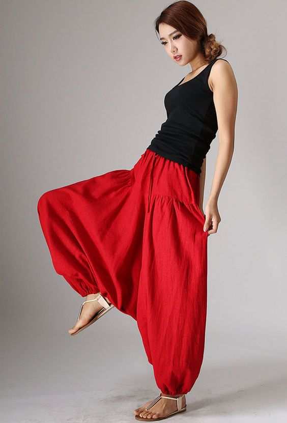 Red maxi linen pants 982 от xiaolizi на Etsy