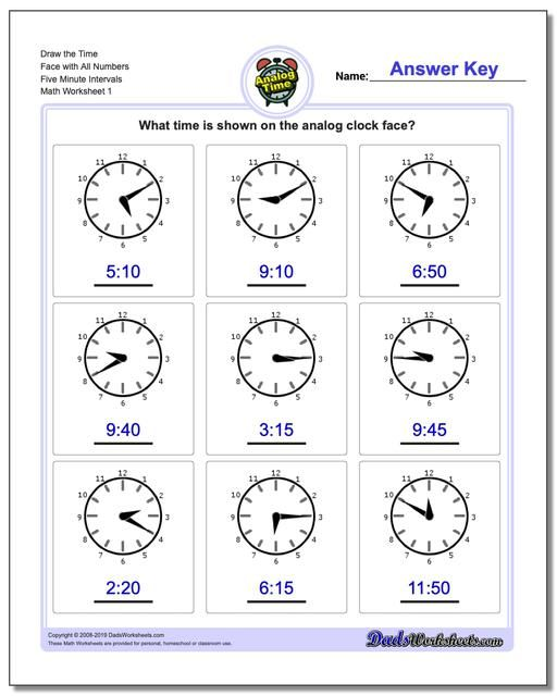 Https Www Dadsworksheets Com Five Minute Intervals Telling