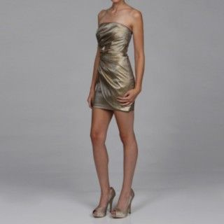 @Overstock - This lovely bronze dress from Jessica McClintock features a flattering ruched detail. Fully lined, this dress is finished with a straight neckline, back zipper closure and a light stretch.http://www.overstock.com/Clothing-Shoes/Jessica-McClintock-Womens-Bronze-Ruched-Dress/6223468/product.html?CID=214117 $58.49