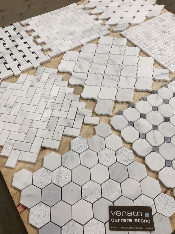 Just some of our Marble Venato Mosaics, all these in honed. Have a project in mind? Head over to our website to get your sample and see this beautiful marble up close. #marble #homedecor #home #remodel #diy