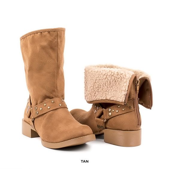 Women's Meredith Fold-Over Boots with Strap & Stud Accents - Assorted Colors